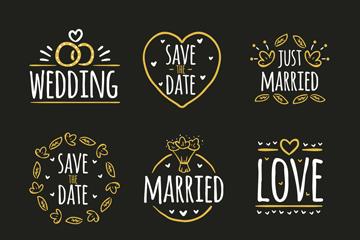 9款金色婚礼标签矢量素材