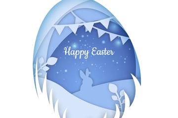白色复活节彩蛋里的兔子矢量图