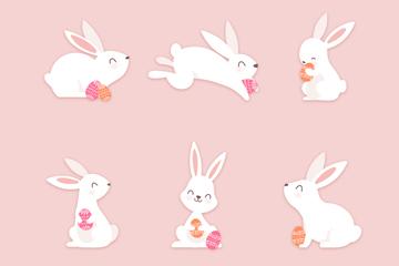 6款质感白色兔子矢量素材