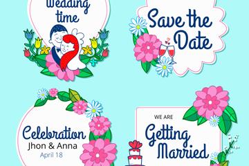 4款手绘婚礼标签矢量素材
