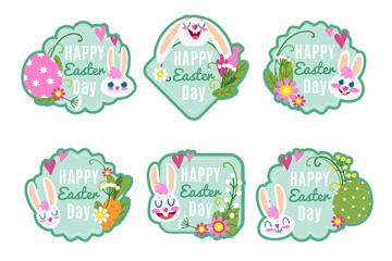 6款可爱复活节白兔徽章矢量图