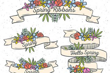 4款彩绘春季花卉条幅矢量图