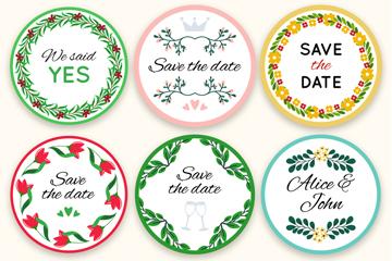 6款圆形婚礼花卉标签矢量素材
