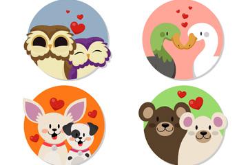 4款可爱情人节动物情侣矢量素材