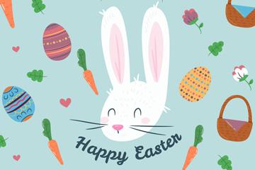 彩绘复活节彩蛋和兔子矢量素材