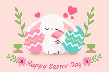 可爱复活节抱彩蛋兔子矢量素材