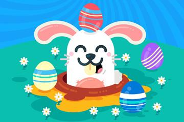 卡通复活节微笑兔子矢量素材