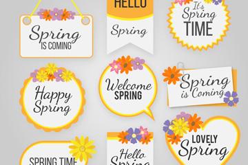 9款创意春季吊牌和标签矢量图