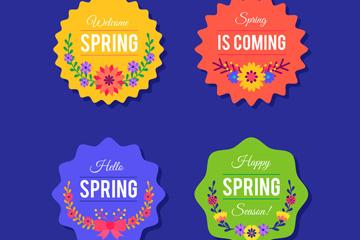 4款彩色春季标签矢量素材