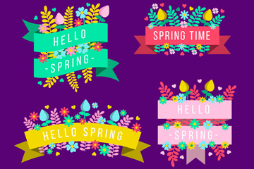 4款扁平化春季花卉丝带矢量素材
