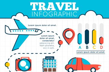 扁平化彩色旅行信息图矢量素材