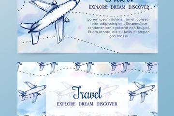 2款手绘飞机旅行banner矢量素材