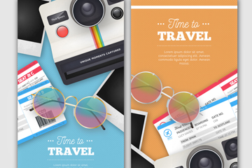 2款创意旅行物品banner矢量素材
