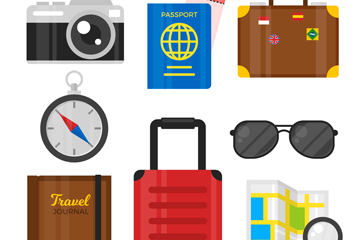 8款创意旅行物品矢量素材