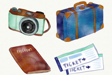4款水彩绘旅行物品矢量素材