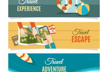 3款创意旅行元素banner矢量素材