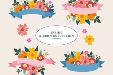 4款创意春季丝带花卉标签矢量素材