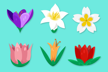 6款��意春季花朵矢量素材