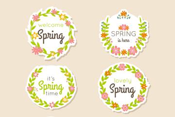 6款清新春季标签矢量素材
