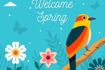 彩色春季花枝上的鸟矢量素材