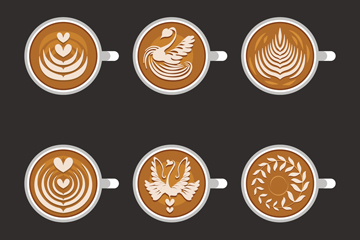 6款创意咖啡俯视图矢量素材