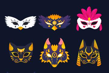 9款创意狂欢节面具矢量素材