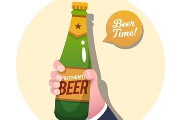 创意举啤酒的手臂矢量素材