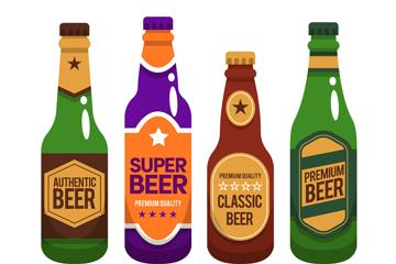 4款创意瓶装啤酒矢量素材