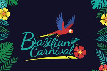 创意巴西狂欢节花草框架矢量素材