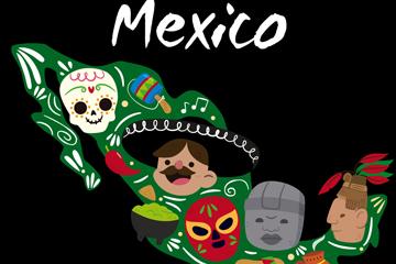 卡通墨西哥元素地图矢量素材