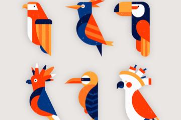 6款创意鸟类侧影矢量素材