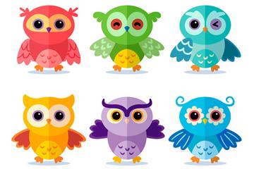 6款彩色扁平化猫头鹰开户送体验彩金的网站