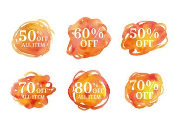 9款水彩绘橙色促销标签矢量素材