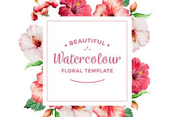 水彩绘美丽花卉框架矢量素材