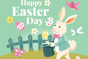 复古复活节礼服兔子矢量素材
