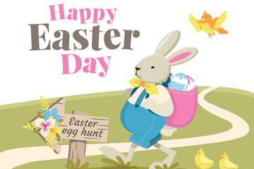 创意复活节背彩蛋的兔子矢量素材