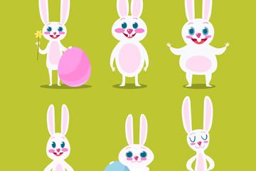 6款可爱白色复活节兔子矢量图