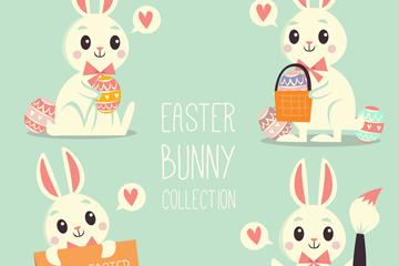 4款可爱复活节白兔设计矢量素材