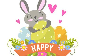 可爱复活节灰色兔子和彩蛋矢量图