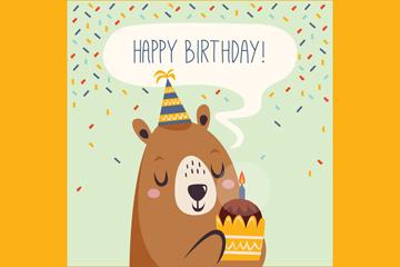 可爱抱蛋糕的熊生日卡片矢量图
