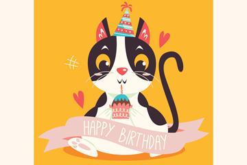 创意黑猫生日贺卡矢量素材