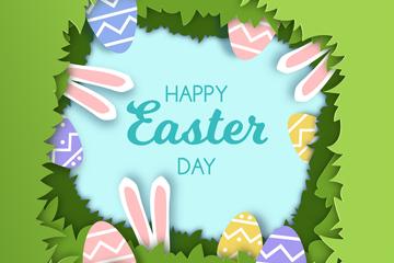 创意复活节草丛里的兔子和彩蛋矢量图