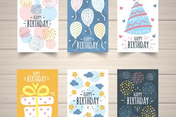 6款手绘生日卡片设计矢量素材