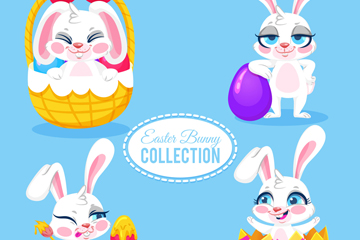 4款卡通白色兔子矢量素材