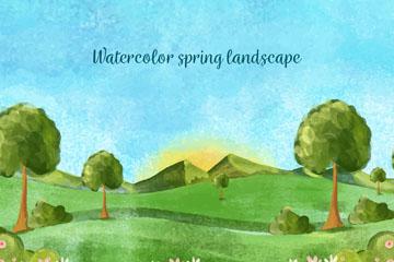 水彩绘春季郊外风景矢量图