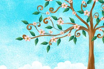 彩绘春季开满花的树风景矢量图
