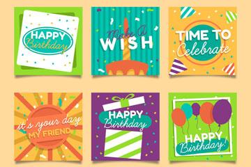 6款彩色方形生日卡片矢量素材