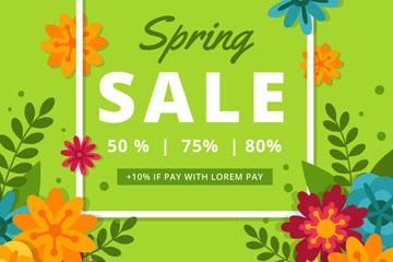 彩色春季花卉促销海报矢量素材