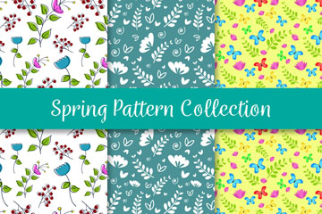 3款彩色春季无缝背景矢量素材