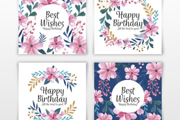 4款彩绘花卉生日卡片矢量素材